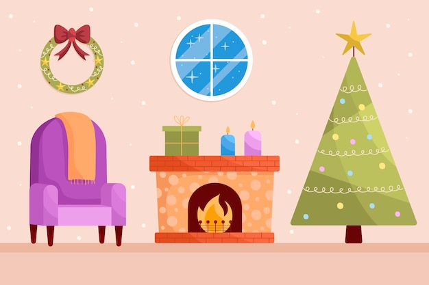 Hand getekend kerst open haard scène Gratis Vector