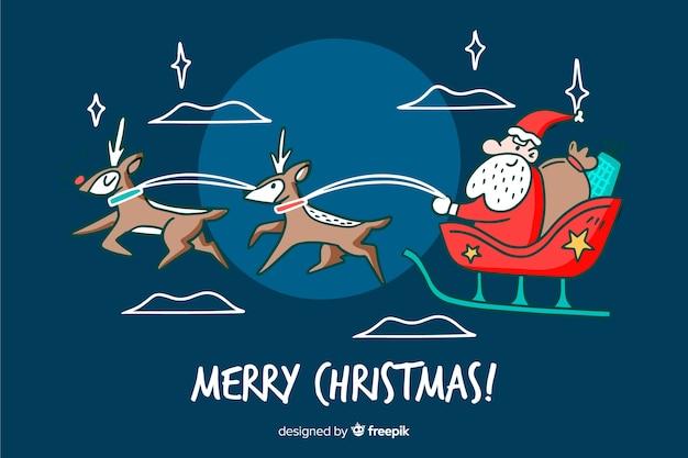 Hand getekend kerst santa claus achtergrond Gratis Vector