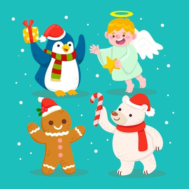 Hand getekend kerst tekens collectie Gratis Vector