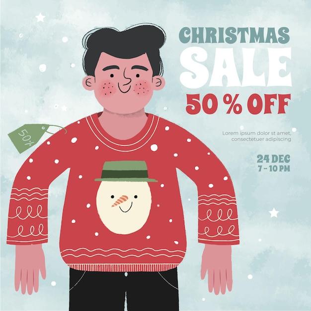 Hand getekend kerst verkoop concept Gratis Vector