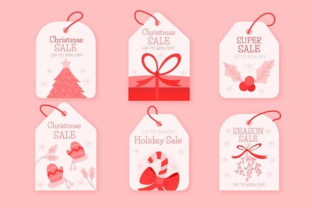 Hand getekend kerst verkoop tag collectie Premium Vector