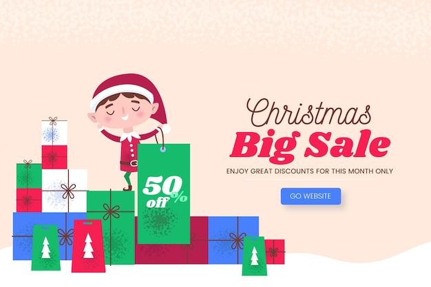 Hand getekend kerst verkoop Premium Vector