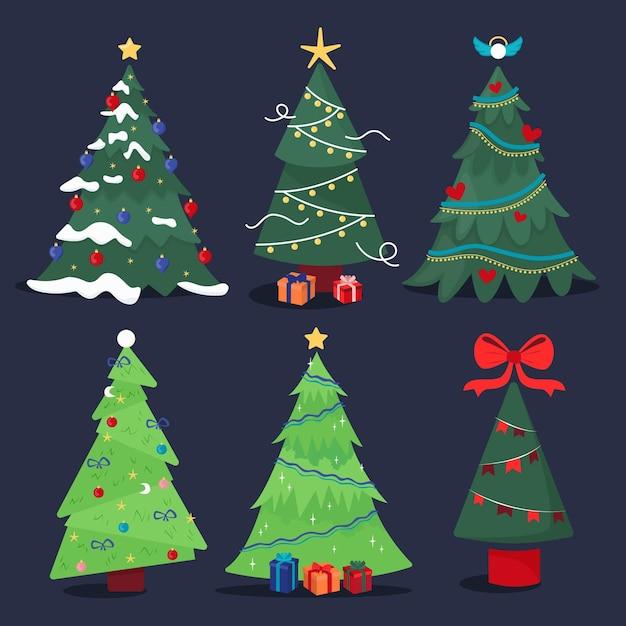Hand getekend kerstboom collectie Gratis Vector