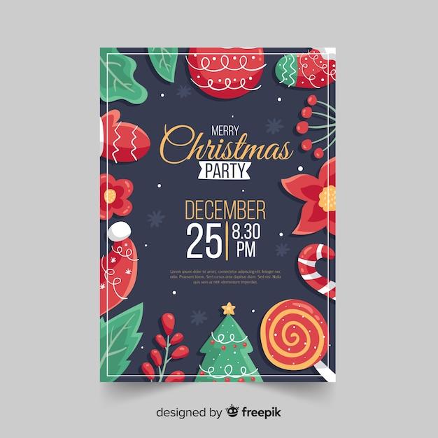 Hand getekend kerstfeest folder sjabloon Gratis Vector