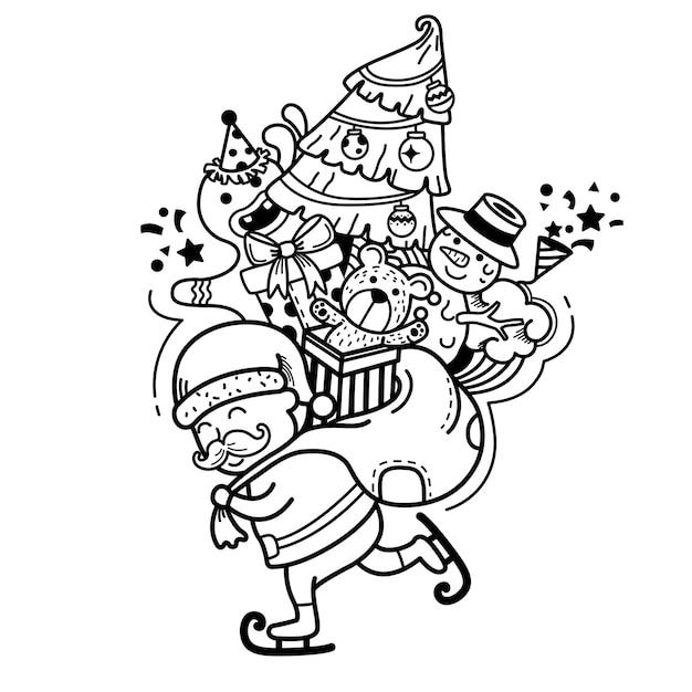 Hand getekend kerstman gelukkig nieuwjaar en vrolijk kerstfeest. illustratie Premium Vector