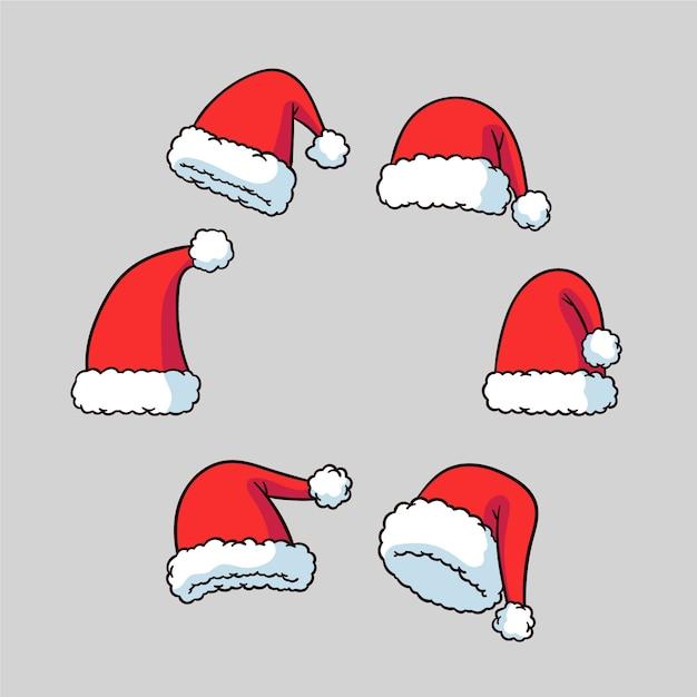 Hand getekend kerstman hoed collectie Gratis Vector