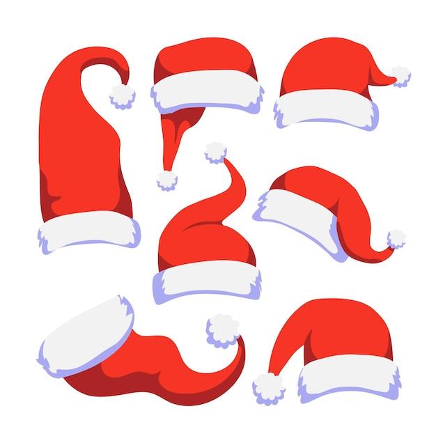 Hand getekend kerstman hoed collectie Premium Vector