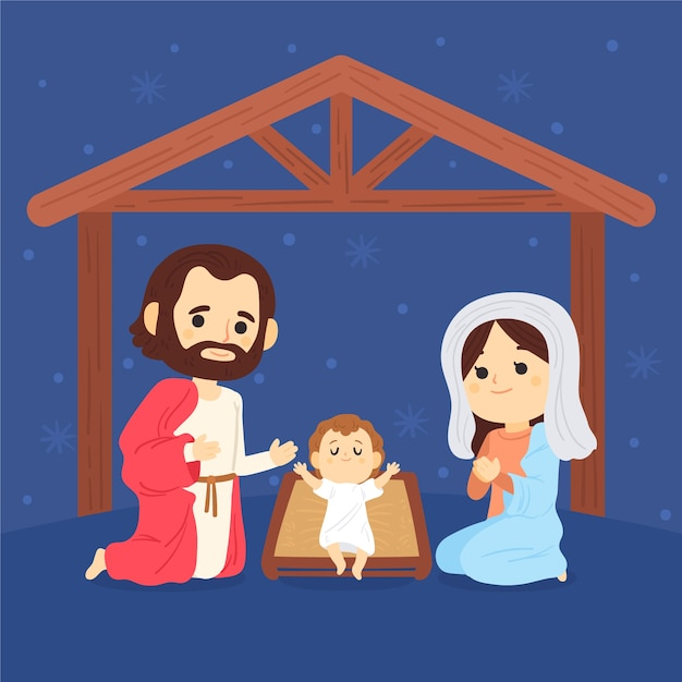 Hand getekend kerststal illustratie Gratis Vector
