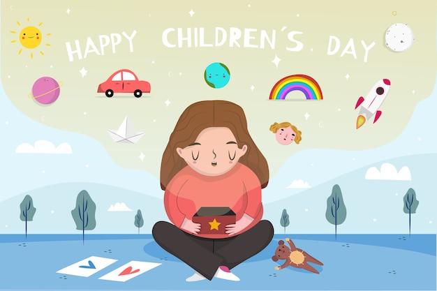 Hand getekend kinderdag achtergrond met meisje Gratis Vector