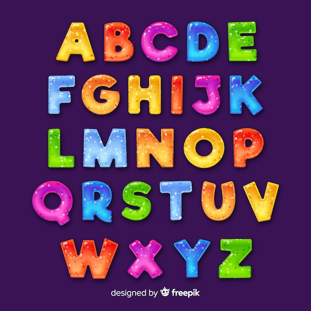 Hand getekend kleurrijke alfabet Gratis Vector