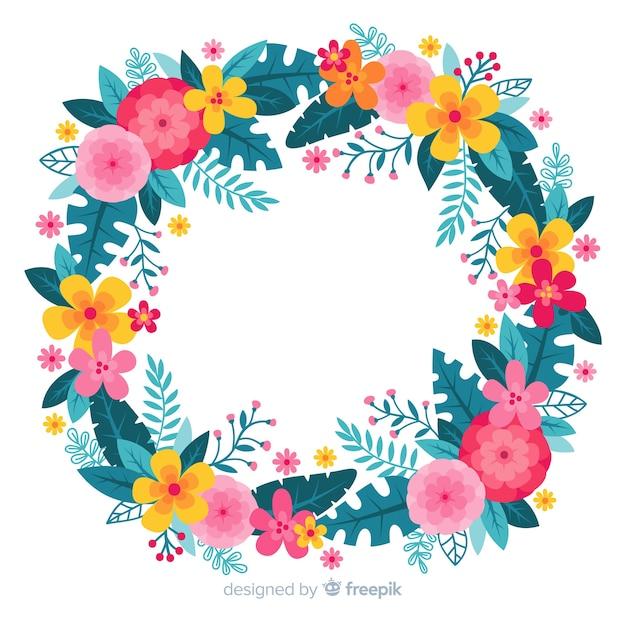Hand getekend kleurrijke bloemen krans Gratis Vector