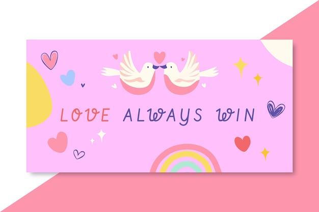 Hand getekend kleurrijke liefde blog koptekst Gratis Vector