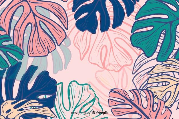 Hand getekend kleurrijke monstera achtergrond Gratis Vector