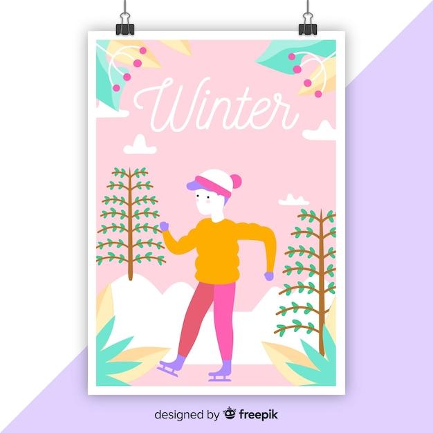 Hand getekend kleurrijke seizoensgebonden poster Gratis Vector