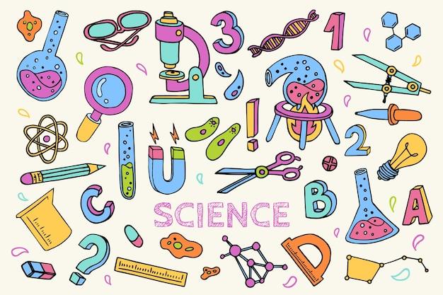 Hand getekend kleurrijke wetenschappelijke onderwijs achtergrond Gratis Vector