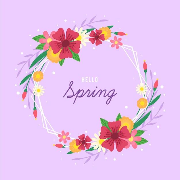 Hand getekend lente bloemen frame met bericht Gratis Vector