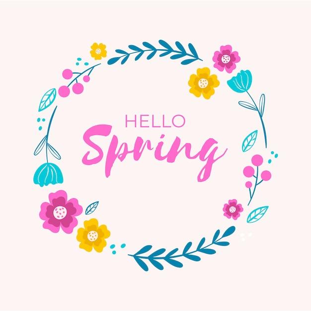Hand getekend lente bloemen frame Gratis Vector