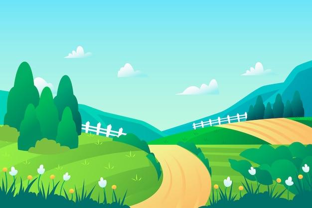 Hand getekend lente landschap Gratis Vector