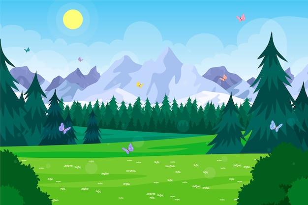Hand getekend lente landschap Premium Vector