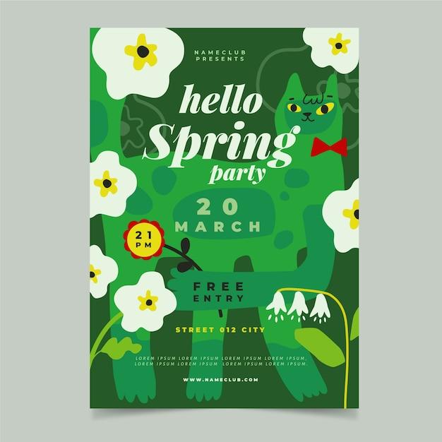 Hand getekend lente verkoop poster sjabloon Gratis Vector