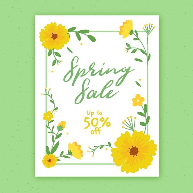 Hand getekend lente verkoop sjabloon folder met bloemen Gratis Vector