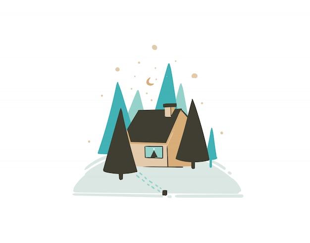 Hand getekend leuke merry christmas coon tijdkaart met schattige illustratie van xmas landschap buiten sneeuw bos en noel huis op witte achtergrond Premium Vector