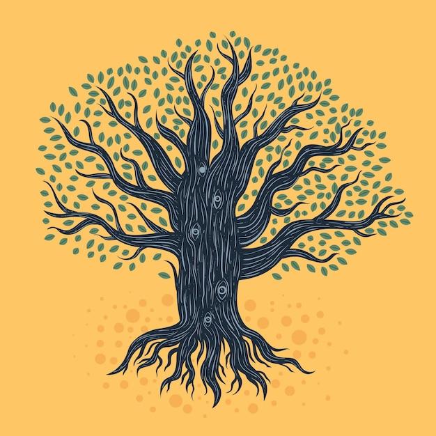 Hand getekend levensboom Premium Vector