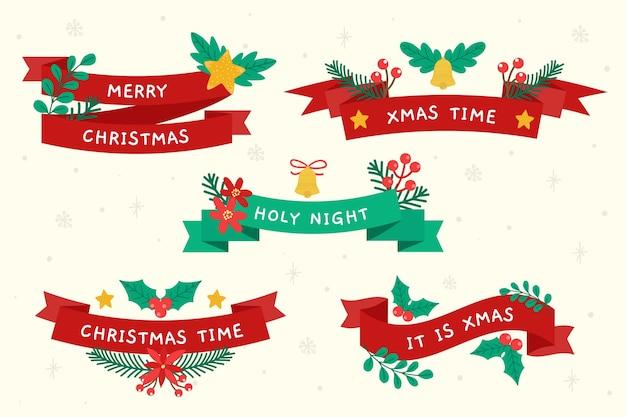 Hand getekend lint collectie van kerstmis Gratis Vector