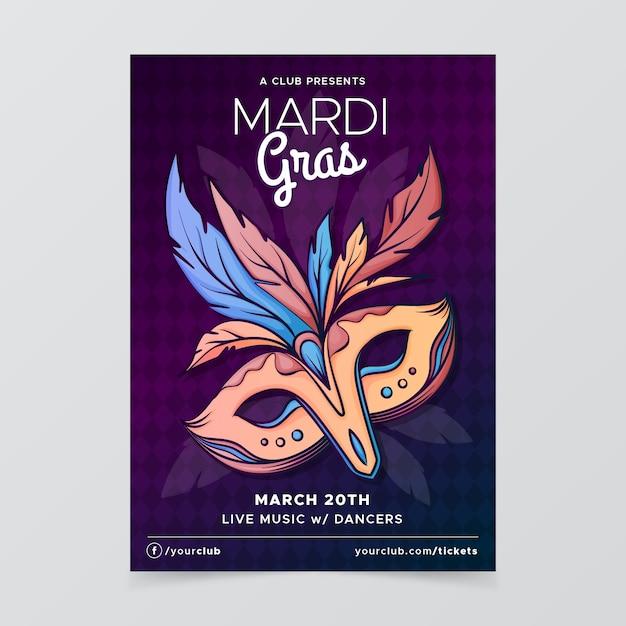 Hand getekend mardi gras poster sjabloon Gratis Vector