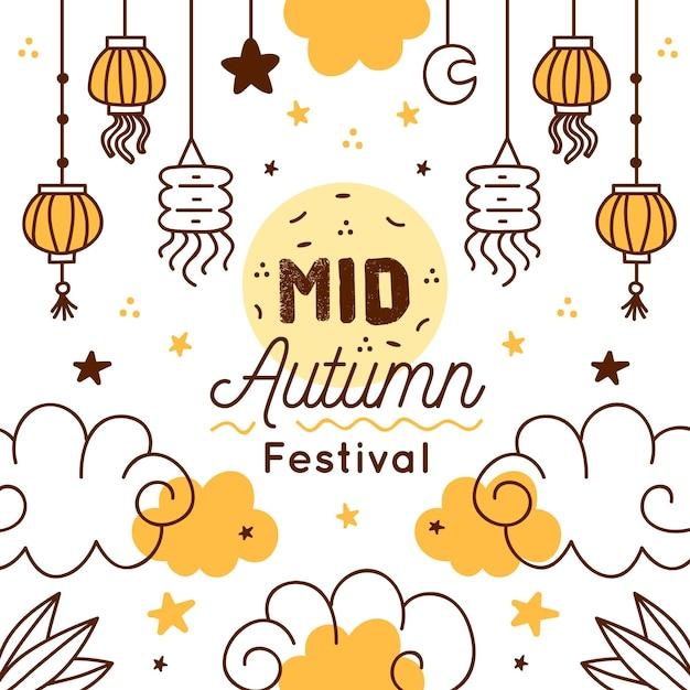 Hand getekend medio herfst festival concept Premium Vector