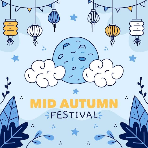 Hand getekend medio herfst festival concept Gratis Vector