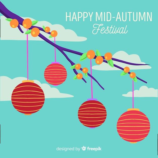 Hand getekend medio herfst festival Gratis Vector