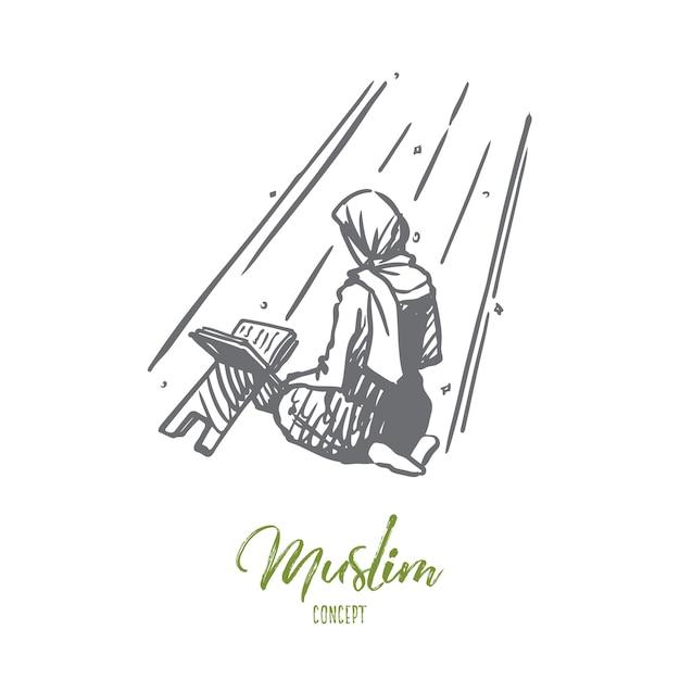 Hand getekend meisje bidden op knieën concept schets. Premium Vector