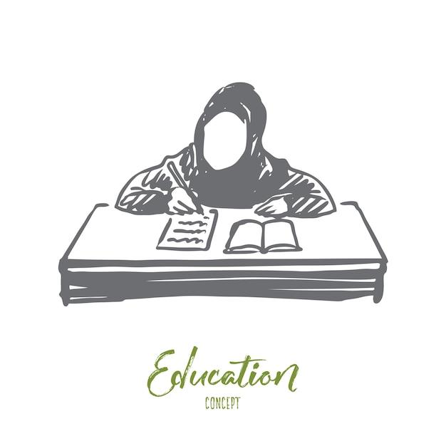 Hand getekend meisje leren met boek concept schets. Premium Vector