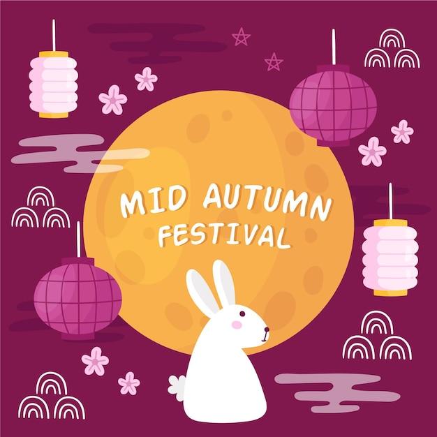 Hand getekend mid-autumn festival Premium Vector
