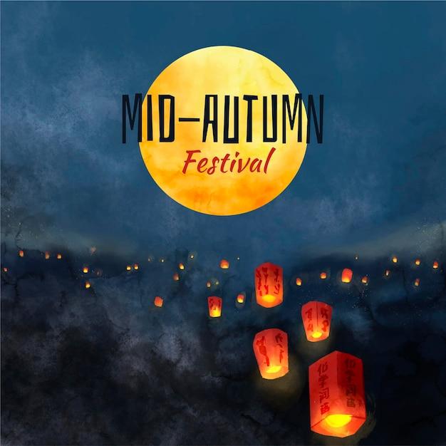 Hand getekend mid-autumn festival Gratis Vector