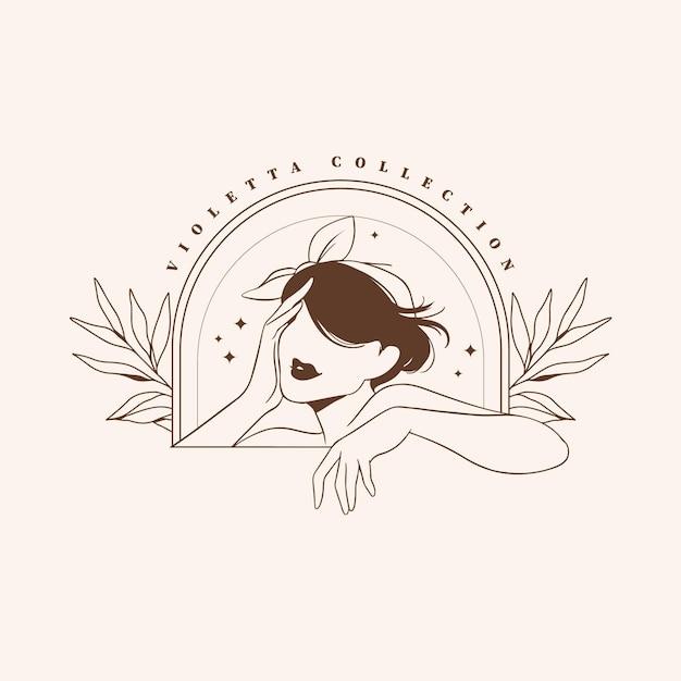 Hand getekend mode vrouw logo sjabloon Gratis Vector