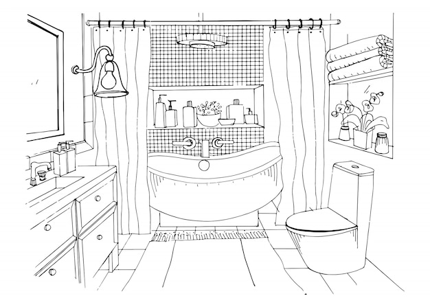 Hand Getekend Moderne Badkamer Interieur Schets Illustratie Premium Vector