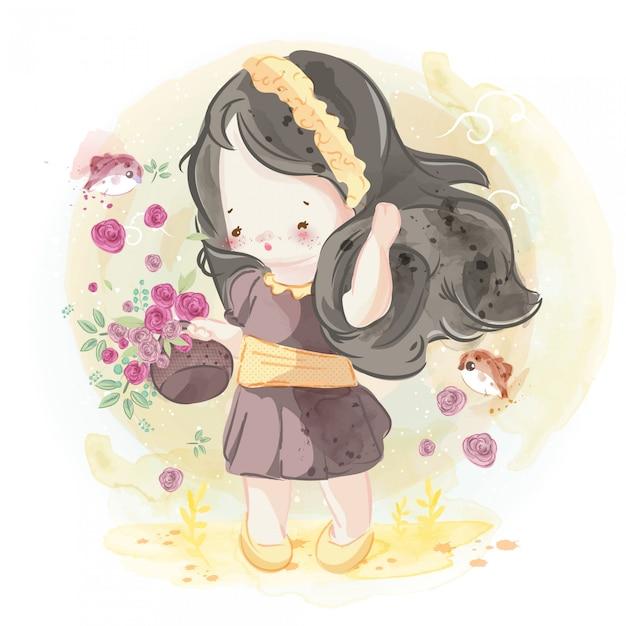 Hand getekend mooi, schattig, klein meisje. Premium Vector