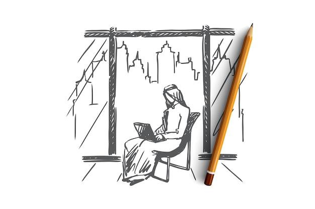 Hand getekend moslim man zitten en werken met laptop concept schets Premium Vector