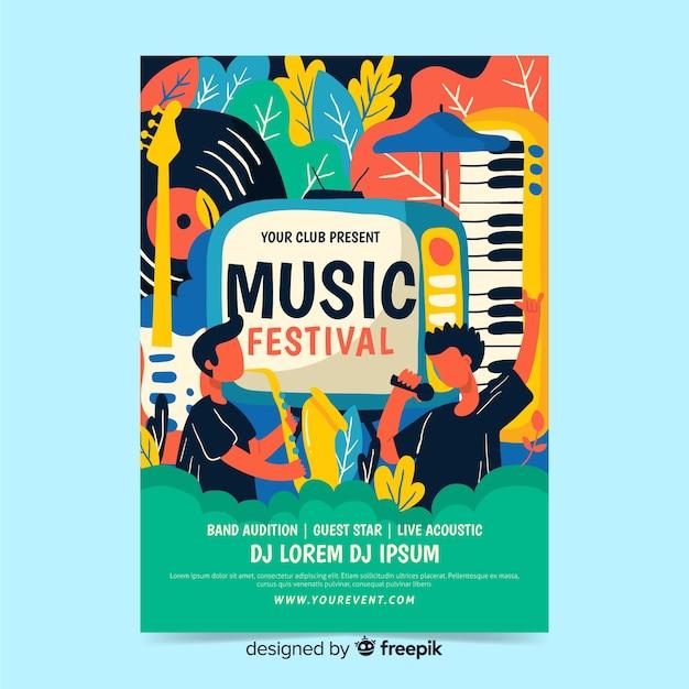 Hand getekend muziek fest poster sjabloon Gratis Vector
