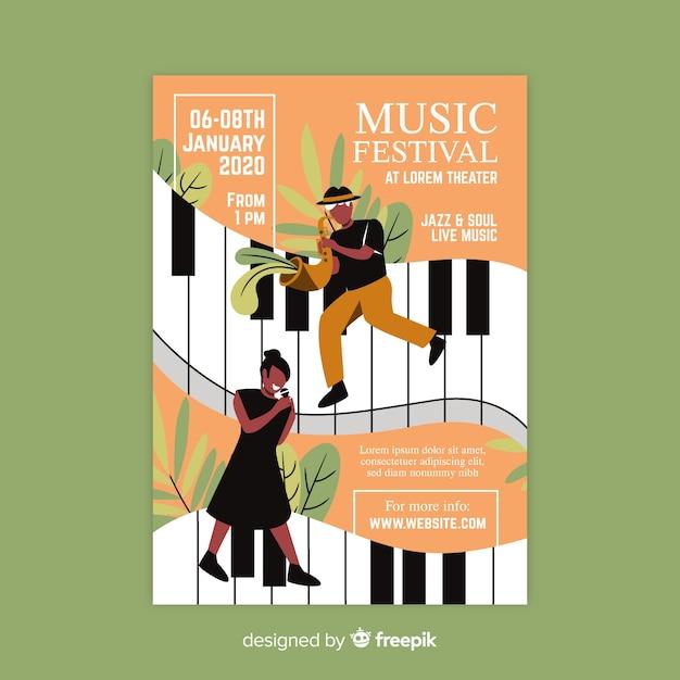 Hand getekend muziek festival poster sjabloon Gratis Vector