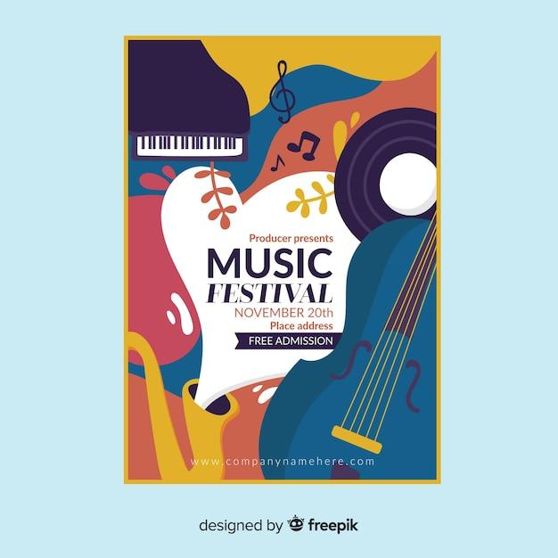 Hand getekend muziek festival poster Gratis Vector