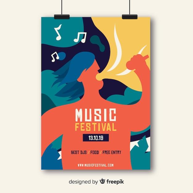 Hand getekend muziek poster sjabloon Gratis Vector