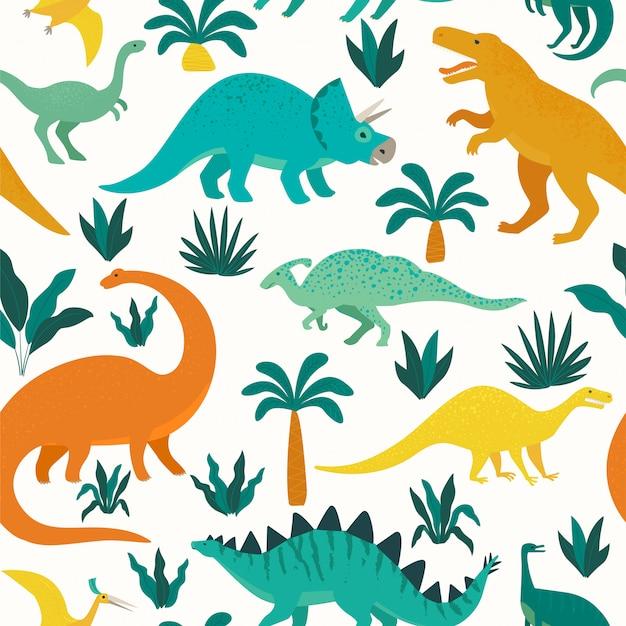 Hand getekend naadloos patroon met dinosaurussen en tropische bladeren en bloemen. Premium Vector