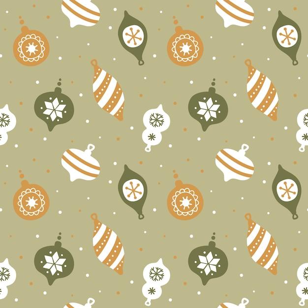 Hand getekend naadloos patroon met schattige kerstboomversiering. Premium Vector