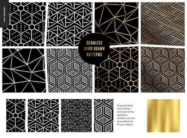 Hand getekend naadloos patroon - zwart Premium Vector