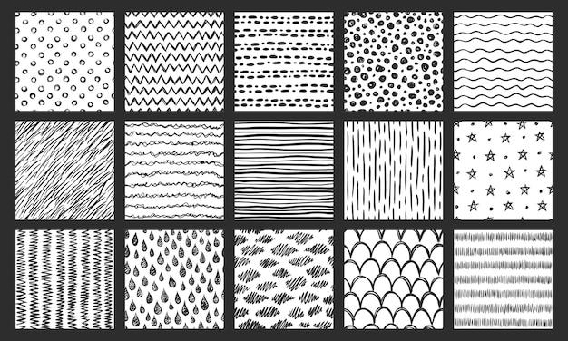 Hand getekend naadloze texturen. schetspatroon, krabbel doodle textuur en gebogen lijnen vector patronen instellen Premium Vector