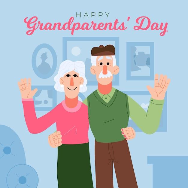 Hand getekend nationale grootouders dag usa Gratis Vector