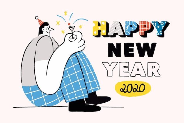 Hand getekend nieuw jaar 2020 behang Gratis Vector